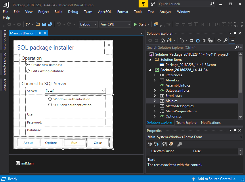 C# project example in Visual Studio