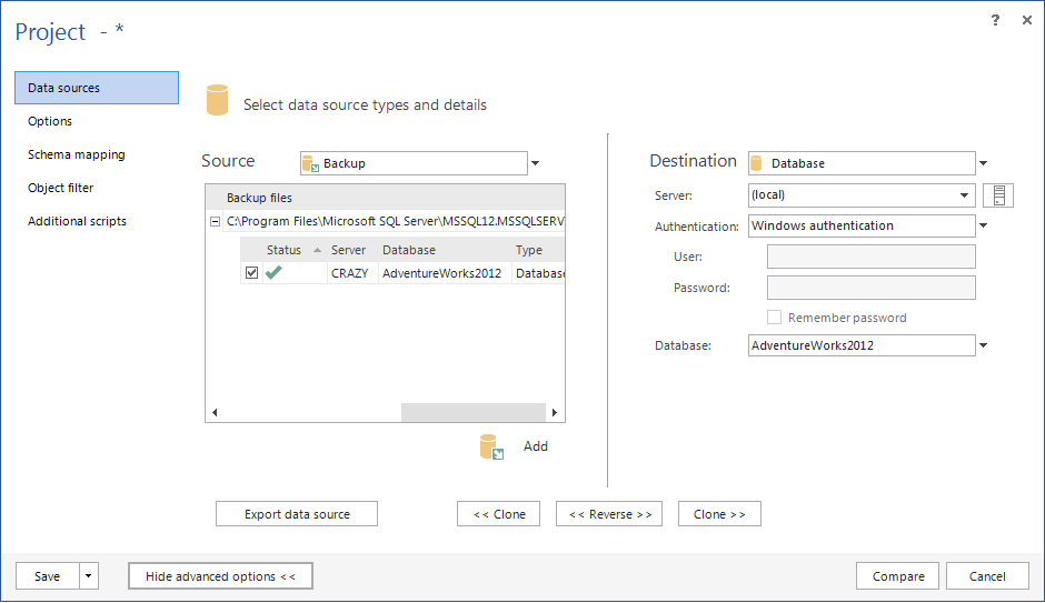ApexSQL Diff Project dialog