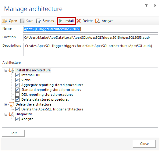 Click the Install button to add the auditing architecture