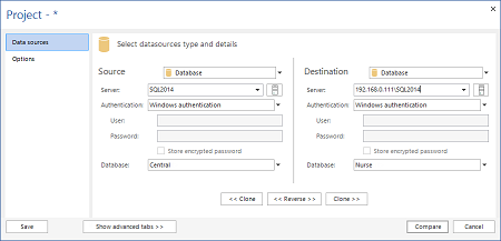 Datasources type and details selection in ApexSQL Data Diff