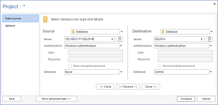 Selecting the SQL Server database Source and Destination