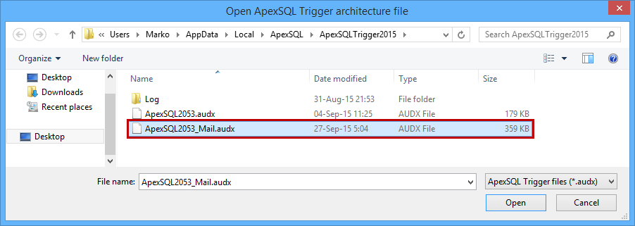 Open and select ApexSQL2053_Mail.audx