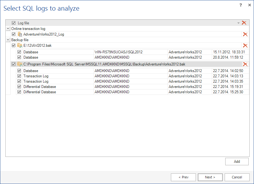 Select log data source file