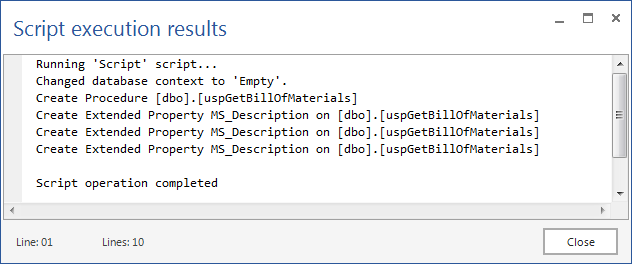 Script execution results dialog