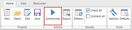 Synchronize button in ApexSQL Data Diff
