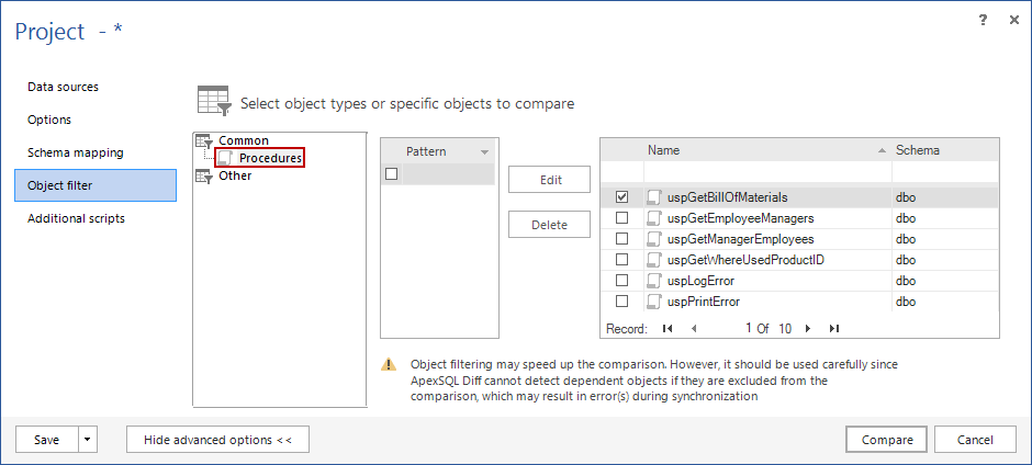 ApexSQL Diff Object filter