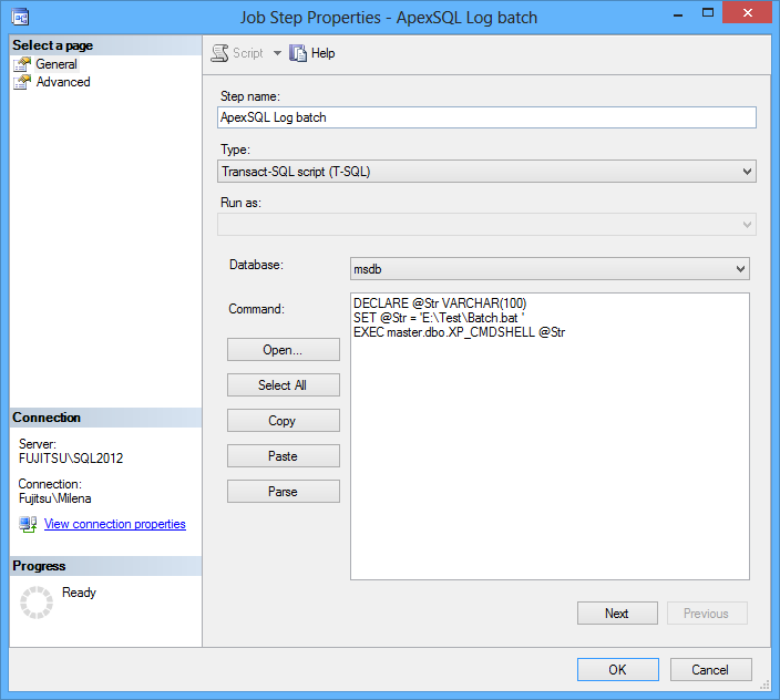 Creating ApexSQL Log batch step in SSMS