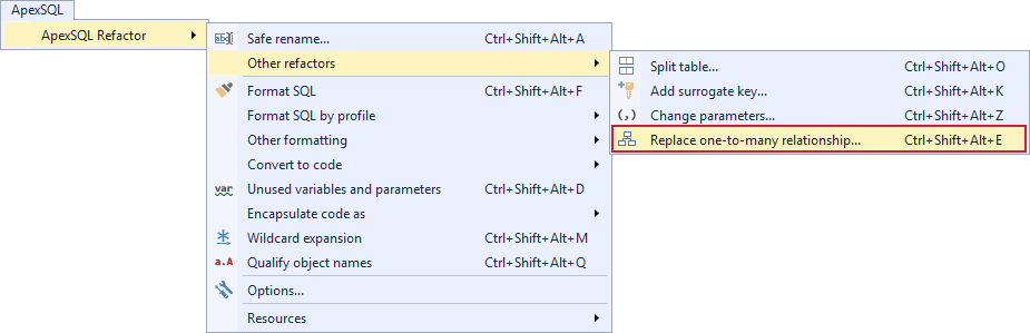 Replace one-to-many relationship selection in sql formatter from ApexSQL