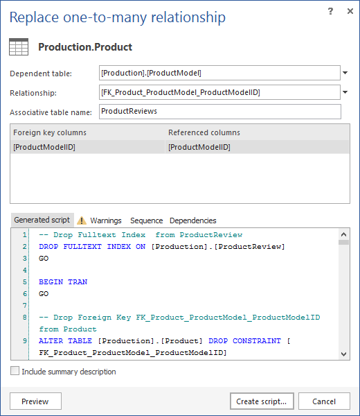 Preview the change of the SQL Script
