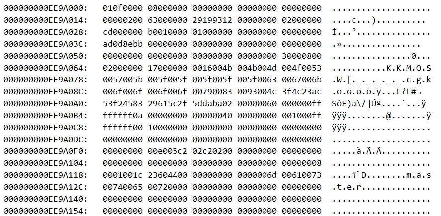 Hexadecimal output from the online LDF file