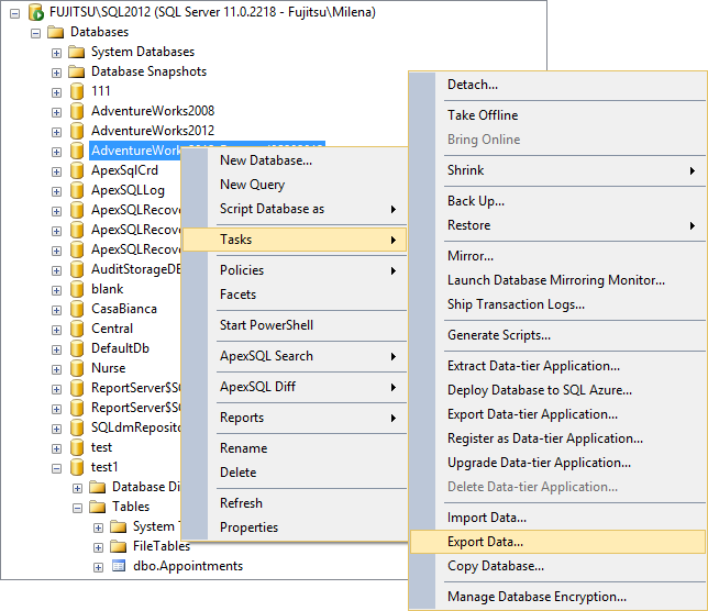 Selecting Export Data in Object Explorer
