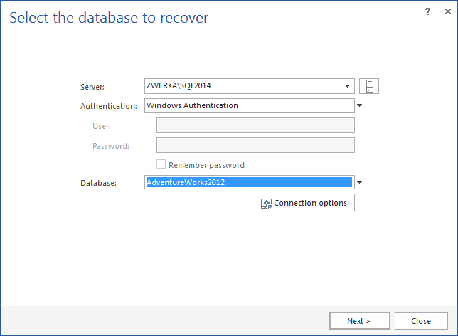 Choose the database to recover