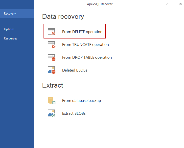 Recover lost data due to a DELETE option