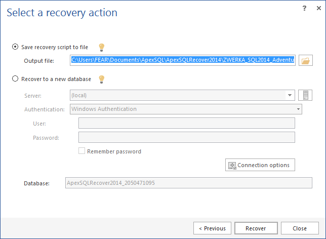 Save recovery script to file