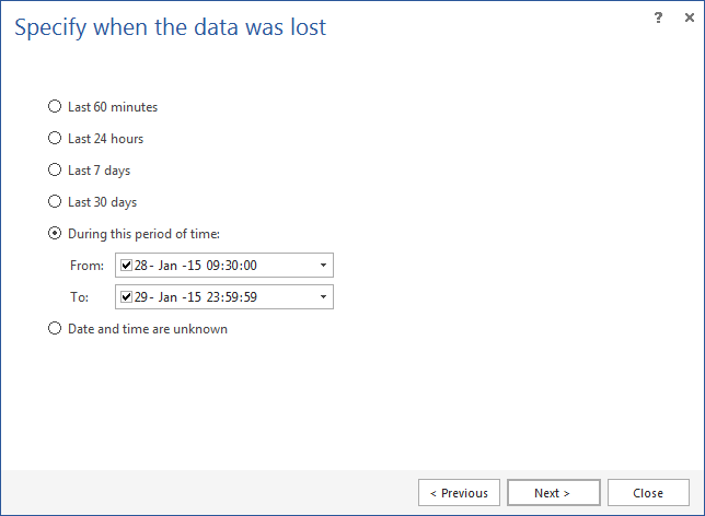Specify the time when data was lost