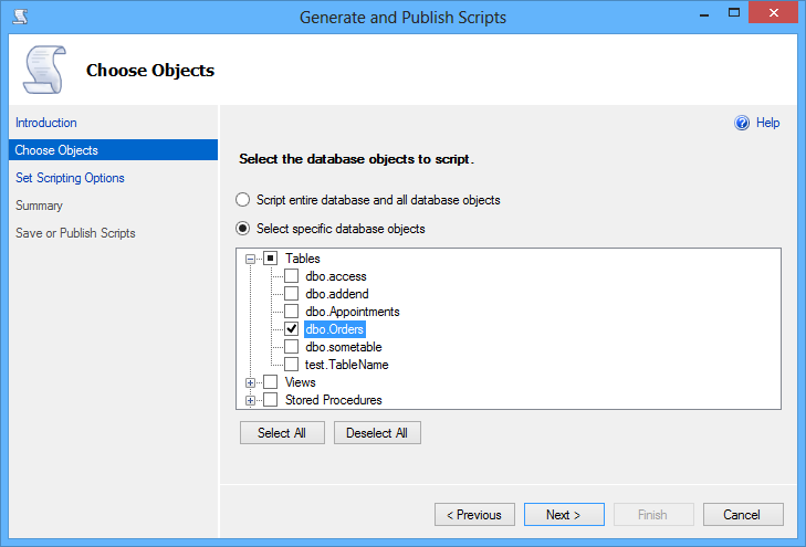 Selecting specific database objects to script