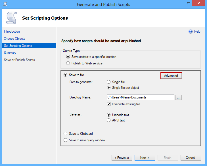 Specifying the file path and name in the Set Scripting Options dialog