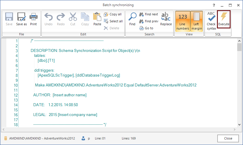 Batch synchronizing - ApexSQL Diff internal editor