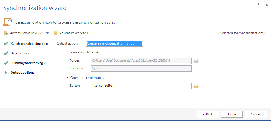 Choosing the Synchronization output options