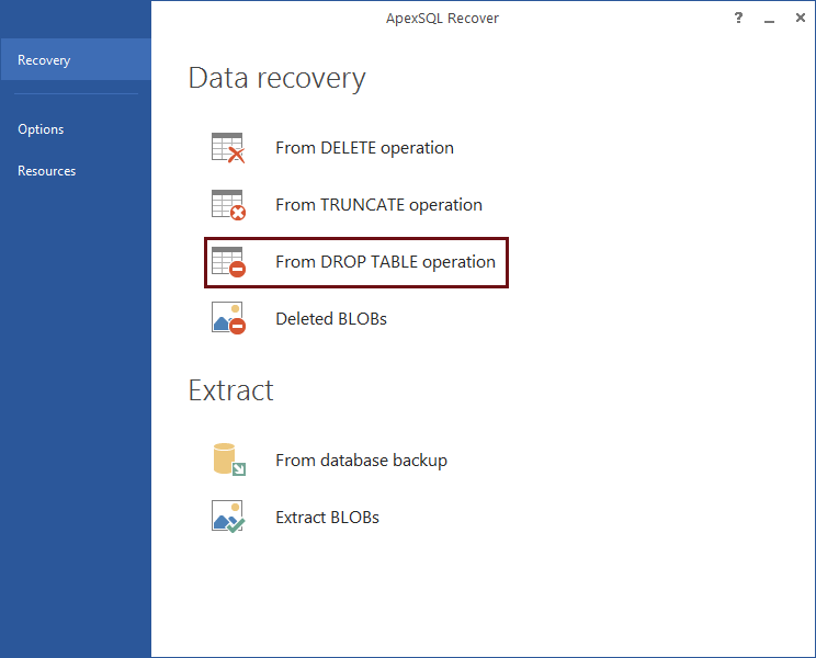 Data and Object recovery options selection