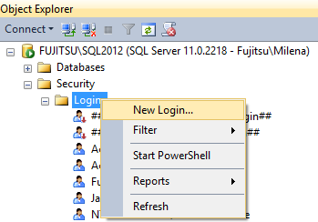 Selecting New login in SSMS Object Explorer