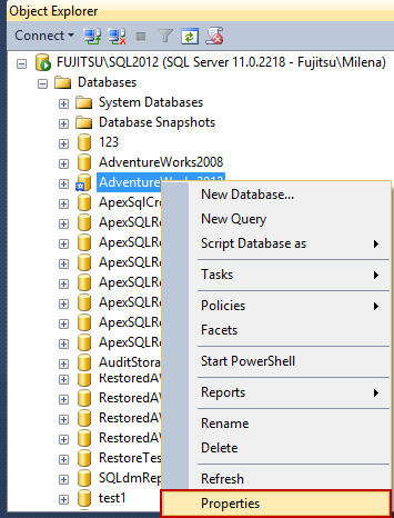 Selecting database properties in Object Explorer