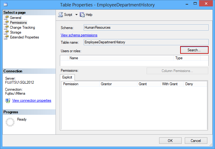 Click Search in the Table properties dialog