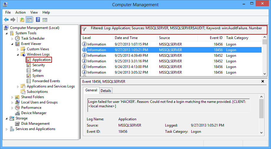 SQL Server logins can also be read in the Windows event viewer