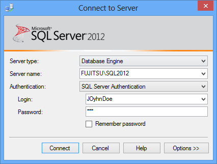 MS SQL Server 2012 - Connect to Server