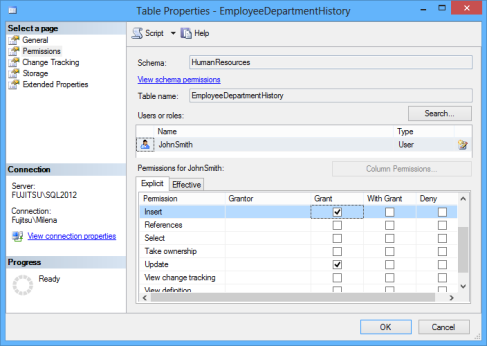 SSMS - the Permissions tab for database or object properties