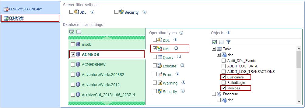 Setting up auditing on a particular SQL Server instance