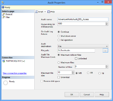 Audit properties in SQL Server Management Studio