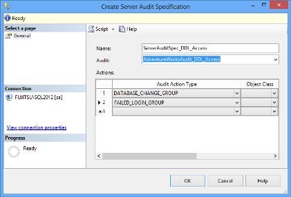 SQL Server audit object - Create Server Audit Specification dialog