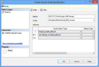 Specifying name, audit, and action in the Create Server Audit Specification dialog