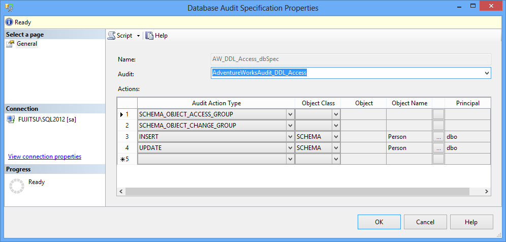 Database Audit Specification Properties