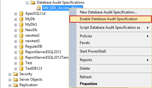 Choosing the Enable Database Audit Specification option in SSMS