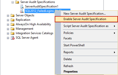 Selecting the Enable Database Audit Specification option