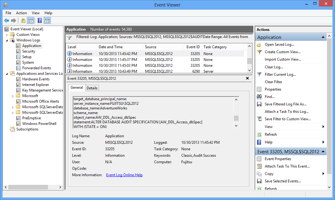 The Event Viewer showing the events captured via SQL Server Audit