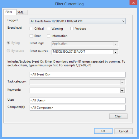 Selecting only the events logged by the SQL Server Audit feature