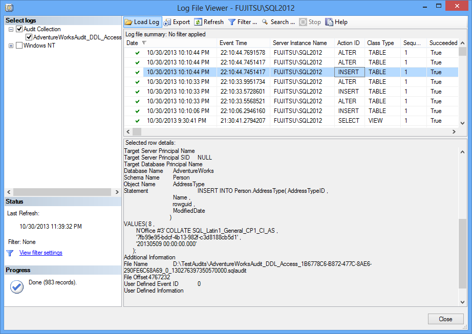 Log File Viewer showing all the entries in the *.sqlaudit file