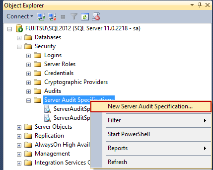 Selecting Select New Server Audit Specification option in SSMS