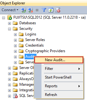 Selecting New audit in Object Explorer