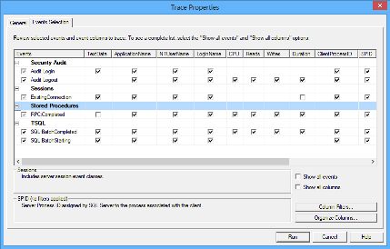 The Events Selection tab of the Trace Properties dialog