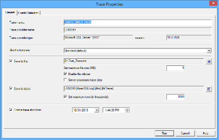 The General section of the Trace Properties dialog