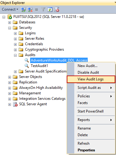 Selecting the View Audit Logs option in SSMS