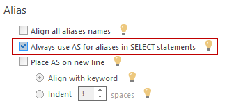 In ApexSQL Refactor the Alias option can be set under the Data Statements tab