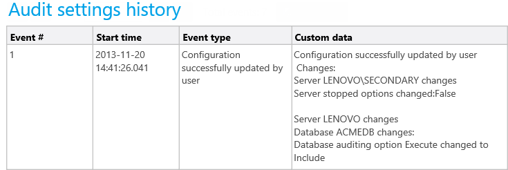 The Audit settings history report found in ApexSQL Audit