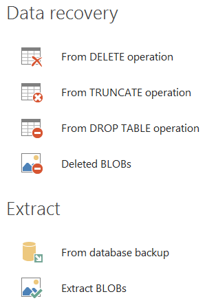SQL Data recovery and extract options found in ApexSQL Recover