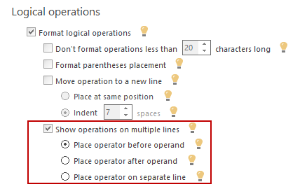 ApexSQL Refactor's SQL formatting options for formatting logical, comparison and arithmetic operations