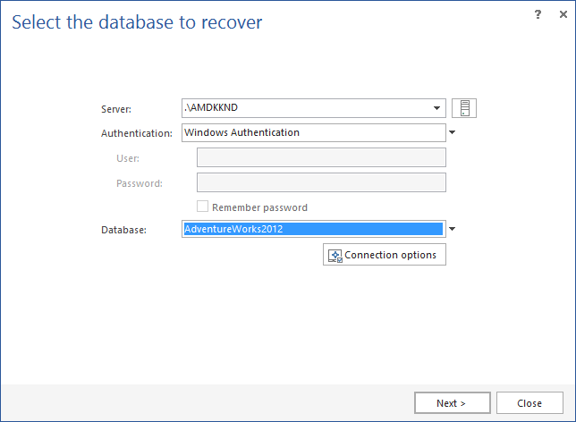 Selecting the SQL database to recover using one of the recovery wizards found in ApexSQL Recover